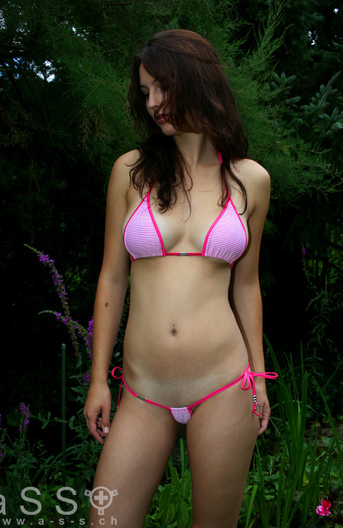 Krysia wears Infernal-Micro Bikini (Pink/Beach Shell)